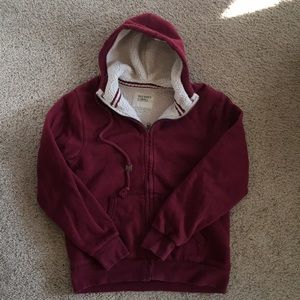 Red, fur lined hoodie